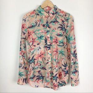 Gap PInk & Blue Lightweight Cotton Button Up Shirt